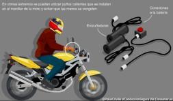 En climas extremos se pueden utilizar puños calientes que se instalan en el manillar de la moto y evitan que las manos se congelen.