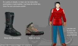En cuanto a calzado lo mejor son las botas altas, acolchadas e impermeables. Las botas de monte tipo Gore-Tex, son una buena opción.