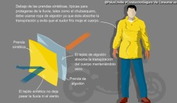 Debajo de las prendas sintéticas, típicas para protegerse de la lluvia, tales como el chubasquero, debe usarse ropa de algodón ya que ésta absorbe la transpiración y evita que el sudor frío moje el cuerpo. Las capas son muy importantes.