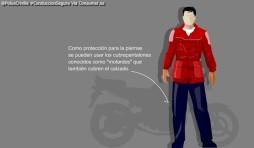 """Como protección para las piernas se puede usar los cubrepantalones conocidos como """"motardos"""" que también cubren el calzado."""